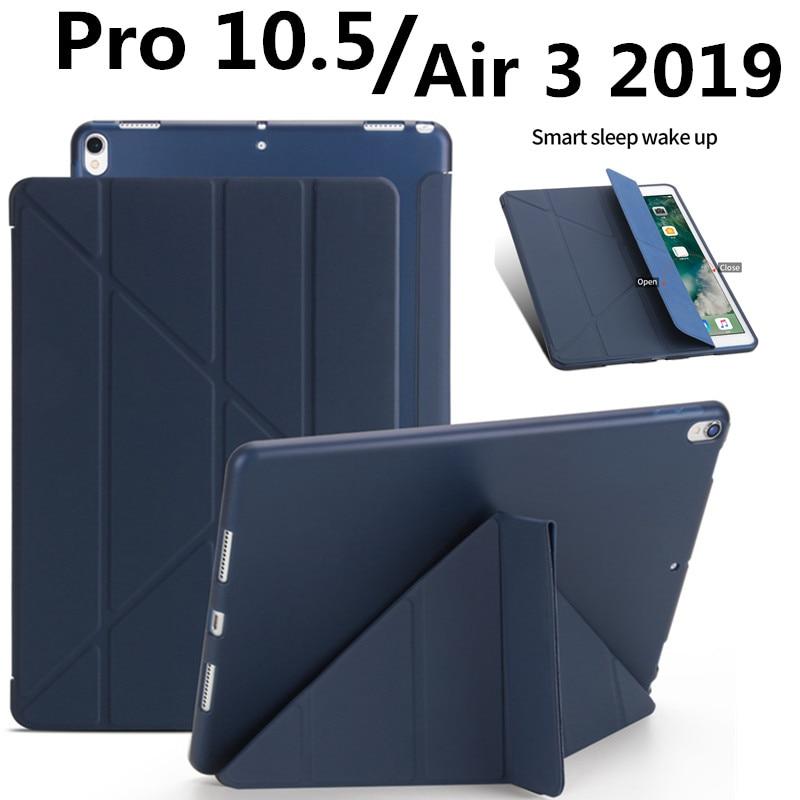 Funda para ipad Pro 10,5 Funda 2017/ipad air 3 10,5 Funda de cuero PU + Funda de silicona suave trasera inteligente para ipad air 3 2019 Funda