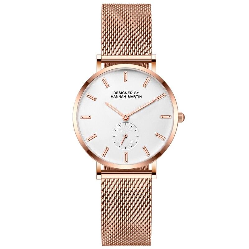 Relojes de mujer delgada de acero de malla de acero inoxidable del cuarzo de Japón Top para movimiento marca de moda mujer impermeable reloj de pulsera reloj Relogio