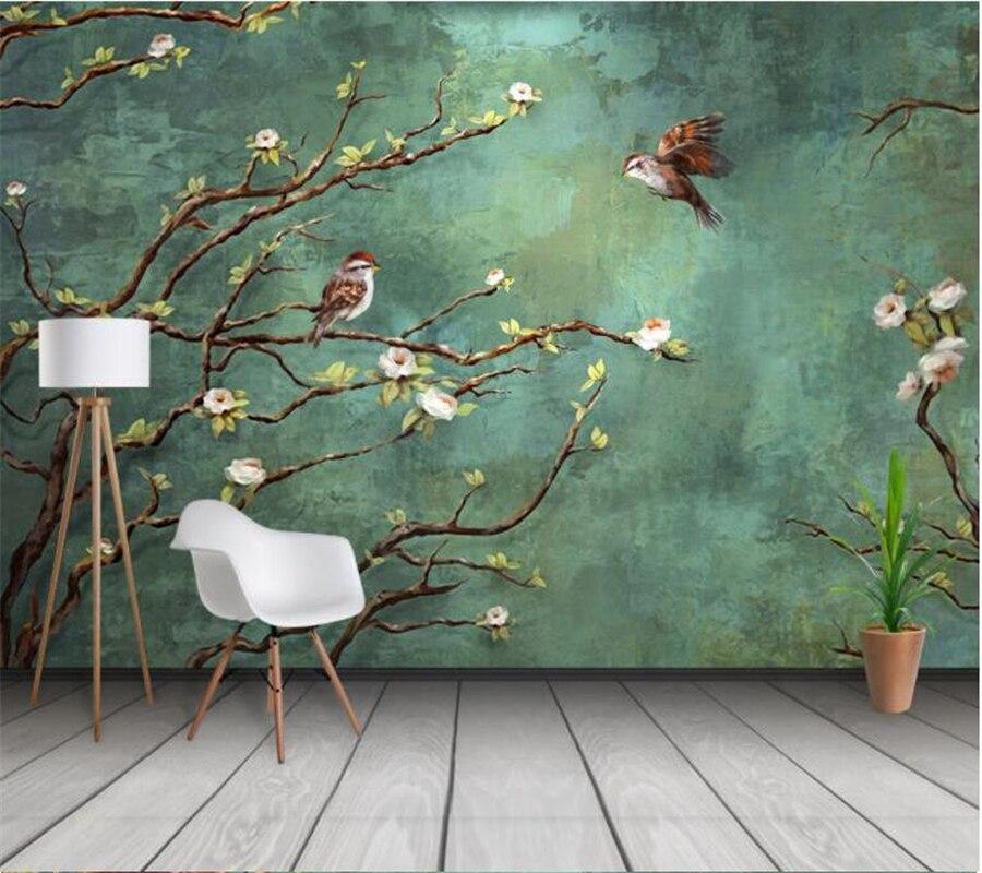 Papel tapiz personalizado wellyu, mural 3d pintado a mano con flores y pájaros, Fondo de moda interior, decoración, papel tapiz 3d