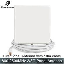 Antena masculina exterior do painel de sma da antena 800-2500 mhz 9db da antena 3g/gsm para o repetidor celular do impulsionador gsm do sinal com cabo de 10 m