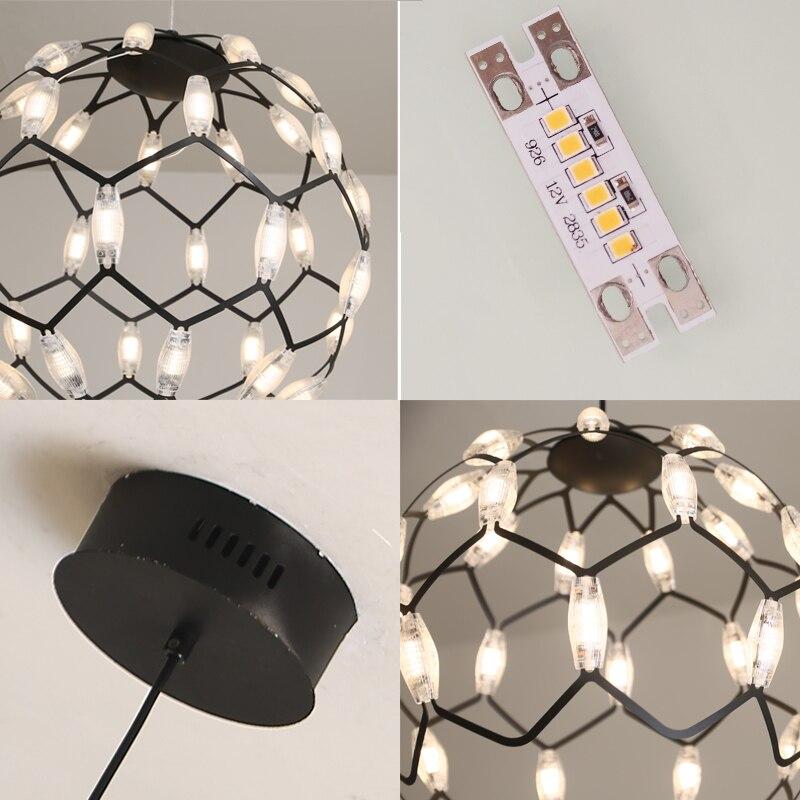 Luxury Modern chandelier LED circle ring chandelier light for living room ironLustre Chandelier Lighting white black 220v  - buy with discount