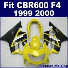 Customize fullset Injection fairing kit for HONDA yellow black CBR600F4 1999 CBR600 F4 2000 CBR600F 99 00 fairngs body parts