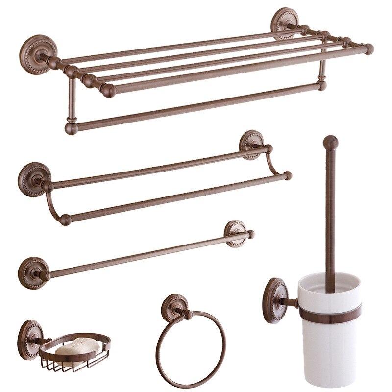 Accesorios de baño, conjunto de toallero de pátina marrón, trajes de baño de estilo europeo, estantería colgante de baño, combinación de toallero de cobre, trajes colgantes