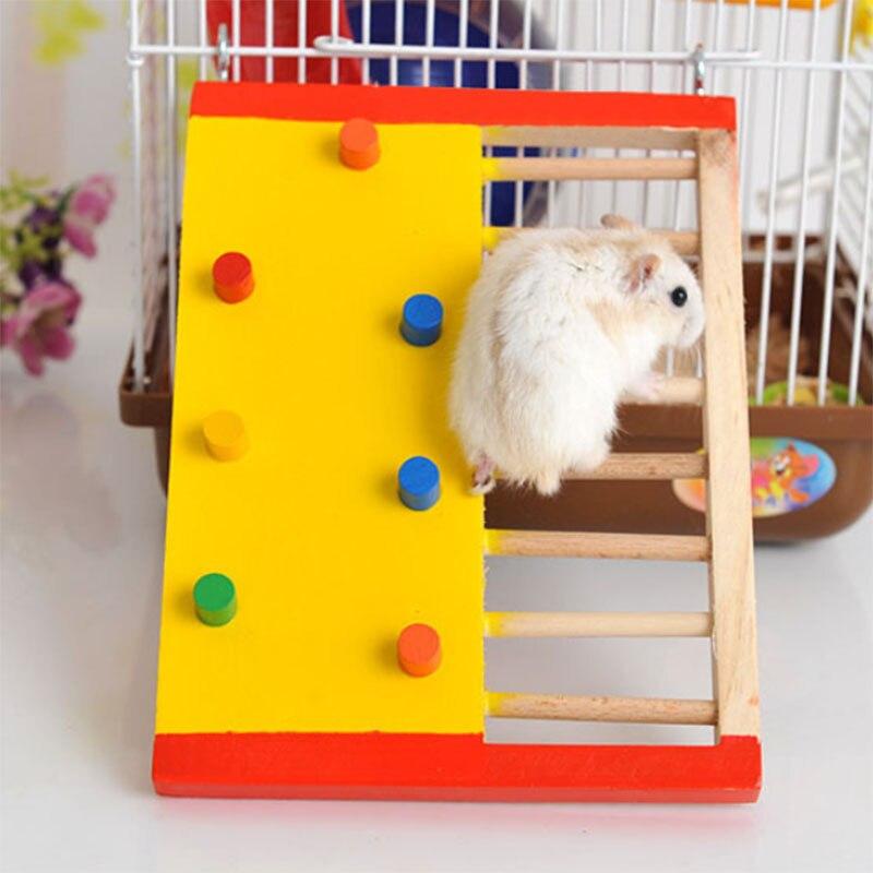 Escalera para hámster de juguete de escalada de madera Natural, juguete pequeño animal para hámster, ardilla, conejillo de indias, juguetes para rata