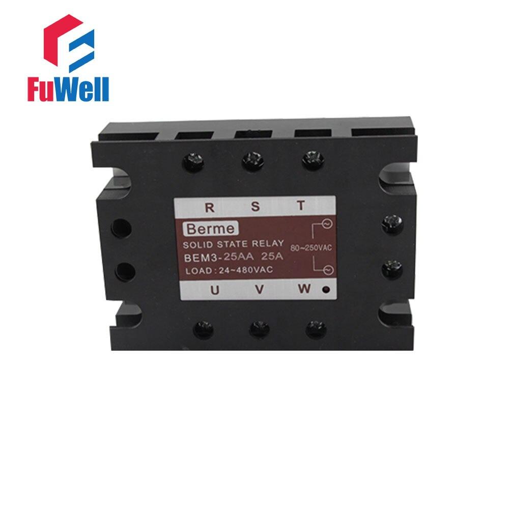 Relé de estado sólido de 3 fases SSR AC-AC 25AA entrada 80-250 V carga de CA 24-480 V AC
