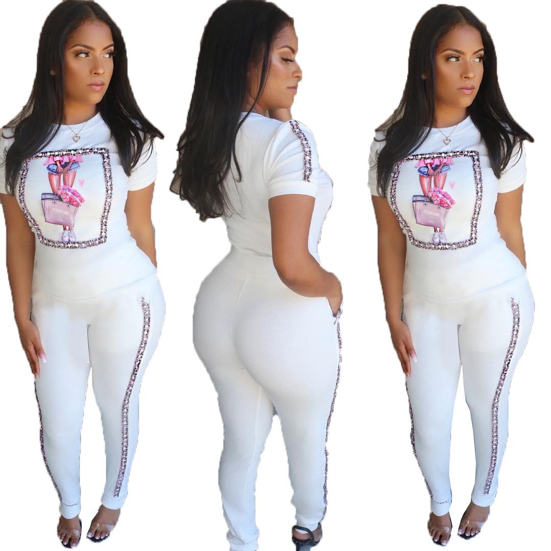 Conjunto de chándal deportivo de dos piezas para mujer, de verano, con carácter, a rayas, empalme, camiseta de manga corta, pantalones tipo lápiz