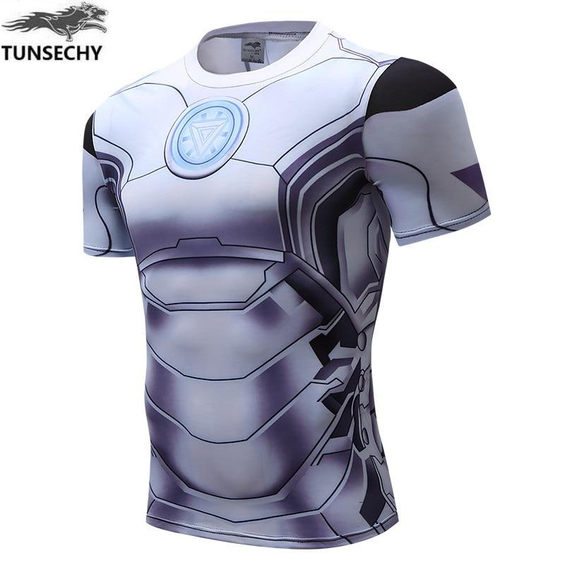 TUNSECHY 2019, camiseta de Iron Man, camiseta de la guerra Civil del Capitán América, camisetas impresas en 3D para hombres, vengadores, camisetas de Fitness para hombres