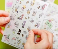 6 sheetsset cute kawaii rabbit cartoon diy scrapbooking album daily stickerdecoration stickers on paper