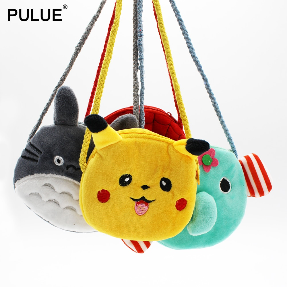 Cartoon Pikachu Plush Coin Purse Children Mini Shoulder Bag Cute Totoro Messenger Key Bag Change Money Wallet Kids Crossbody Bag