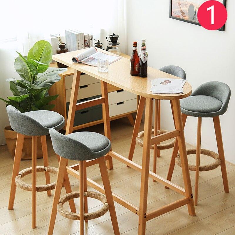 Taburete de Bar nórdicos minimalista moderno de casa de madera maciza de alta taburete de Bar Silla de ocio silla taburete