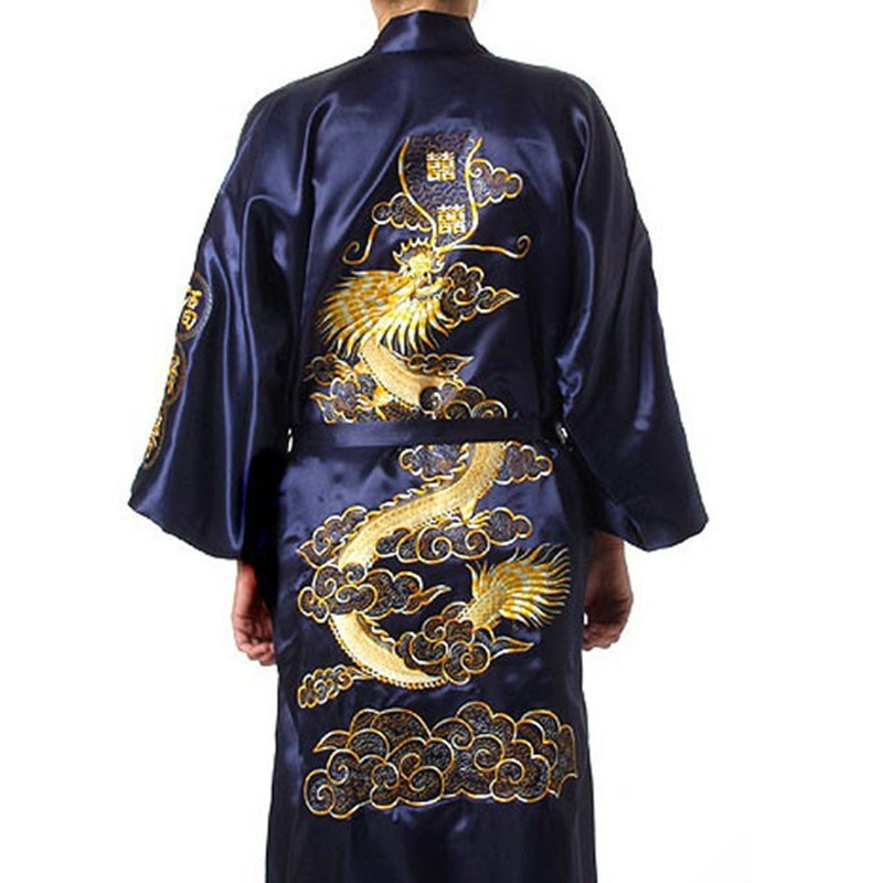 Navy Blue Chinese Men's Satin Silk Robe Embroidery Kimono Bath Gown Dragon Size S M L XL XXL XXXL S0008