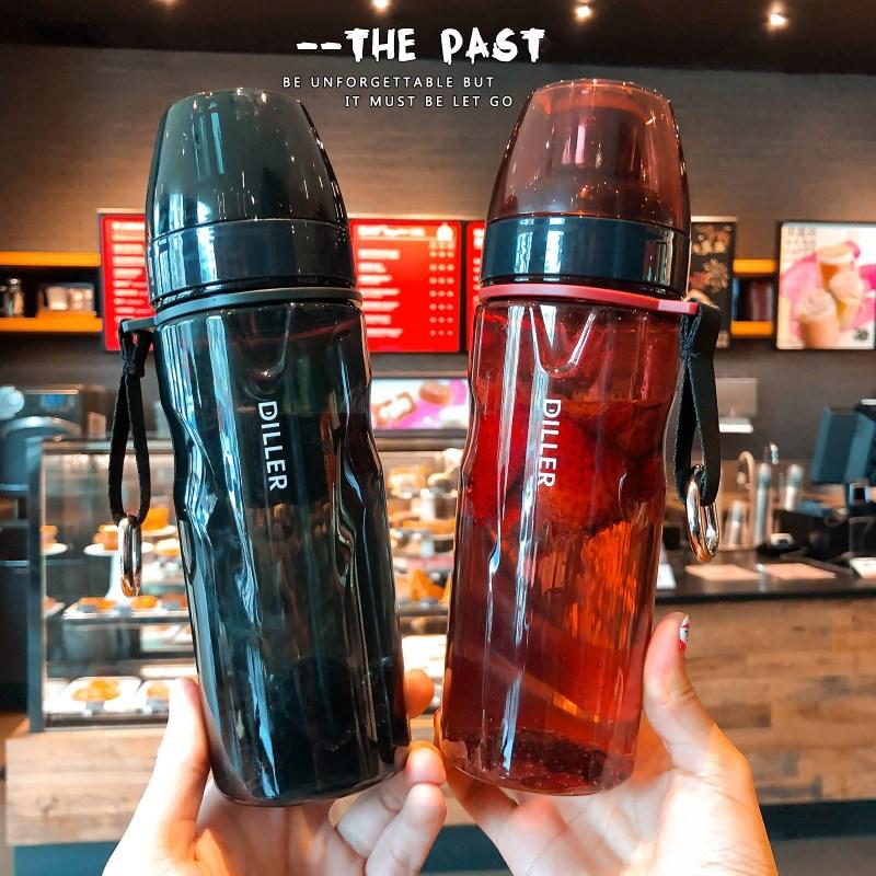 550/700ml Filtro de moda portátil botella de agua de plástico par deporte viaje Tydro matraz niños café té limón recipientes para zumo