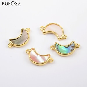 BOROSA 10Pcs High Quality Moon Gold Bezel Natural Abalone Shell White Shell Connector Rainbow Shell for Bracelet Jewelry WX1172