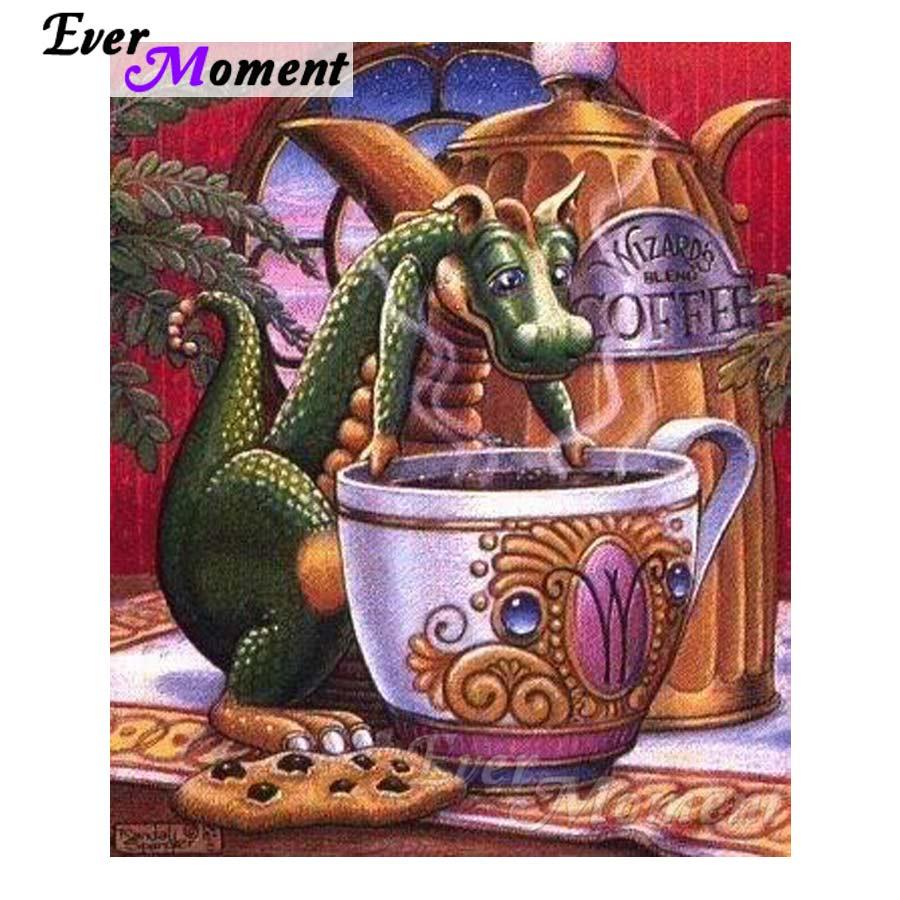 Immer Moment 5D DIY Diamant Stickerei Cartoon Dragon Tee Diamant Mosaik Voller Quadrat Bohrer Kunstwerk Home Dekoration ASF1211