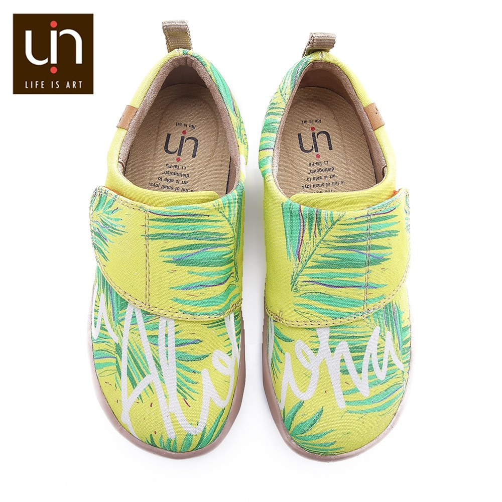 UIN The Wind Design Painted Casual Shoes Toddler Hook & Loop Soft Canvas Flats for Boys/Girls Outdoor Little Kids Shoes Sneakers enlarge
