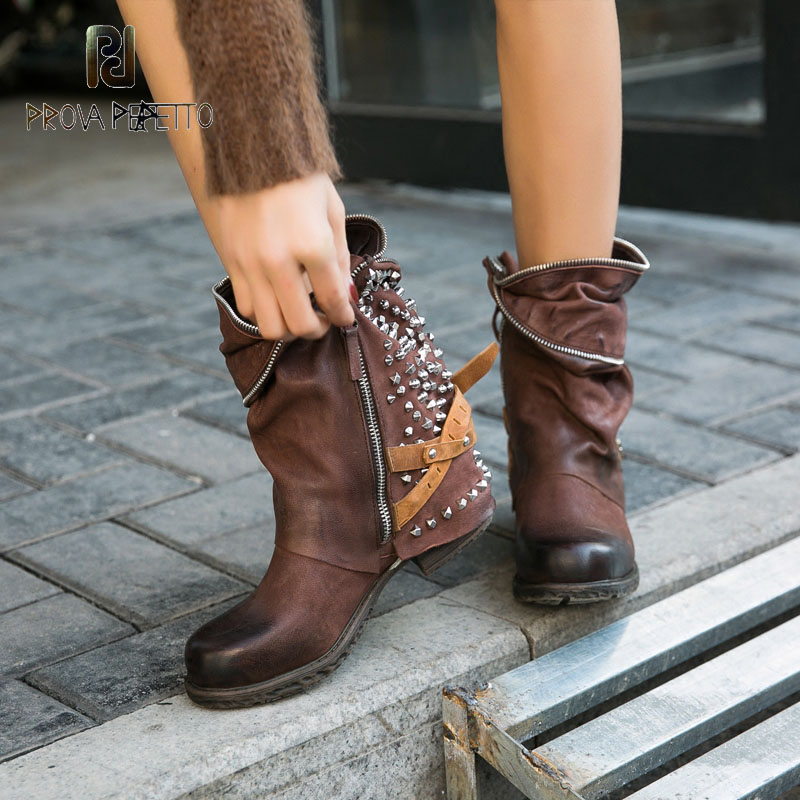 Nome da marca de prova perfetto rebites botas estilo britânico quadrado salto punk botas couro real chique bootie preto cor café
