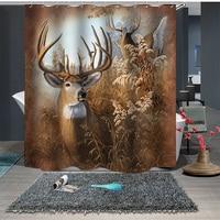 Custom Made Shower Curtain Bathroom Curtain Partition + Hooks 1.5m x 1.8m 1.8m x 1.8m 1.8m x 2m Eco-friendly Nordic Caribou Reed