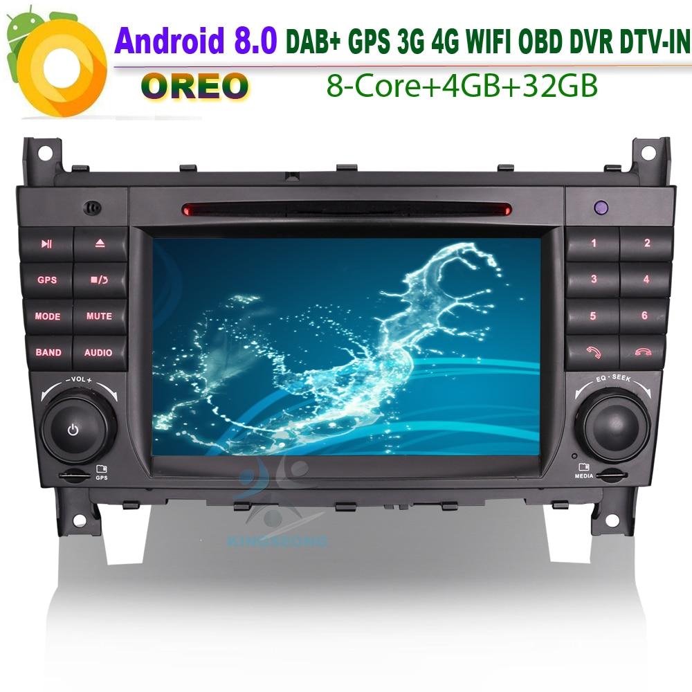 Android 8,0 Autoradio coche DVD Navi GPS CD DAB + WiFi 4G BT SD Radio USB Bluetooth DVR OBD para Mercedes Benz C-Klasse W203