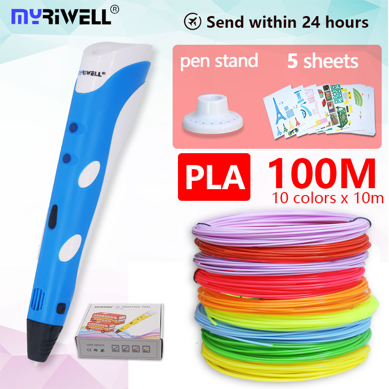 Myriwell 3d pluma rp100a + pla100m filamento 1,75mm 3d impreso pluma 3 d 3d bolígrafos para niños artes herramientas de dibujo 3D manejar de plástico abs