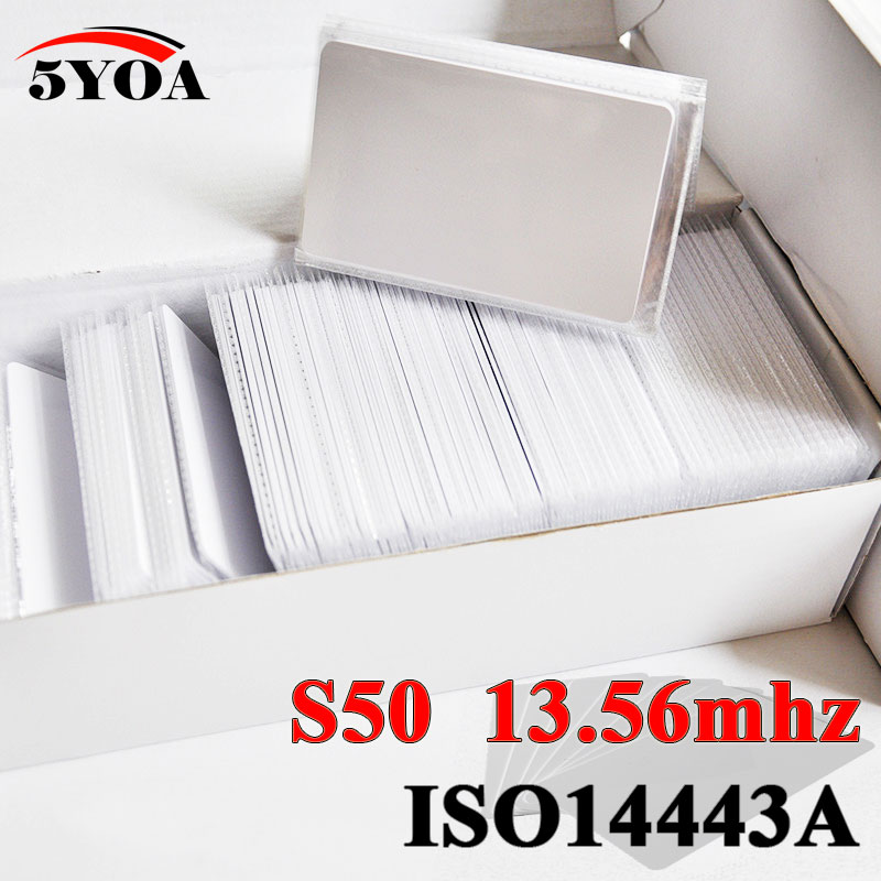 5YOA 1000 unids/lote tarjeta IC 13,56 MHz ISO14443A S50 etiqueta Universal RFID tarjeta de Control de acceso