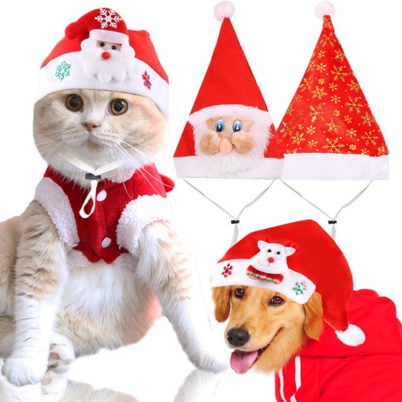 Рождественский костюм для собак шапка кошек и щенков шапки домашних животных