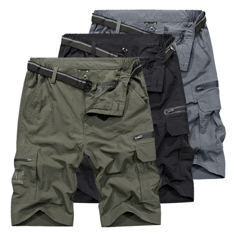 Шорты мужские в стиле милитари, повседневные быстросохнущие короткие штаны, армейский зеленый цвет, с карманами, свободные, AM369, на лето
