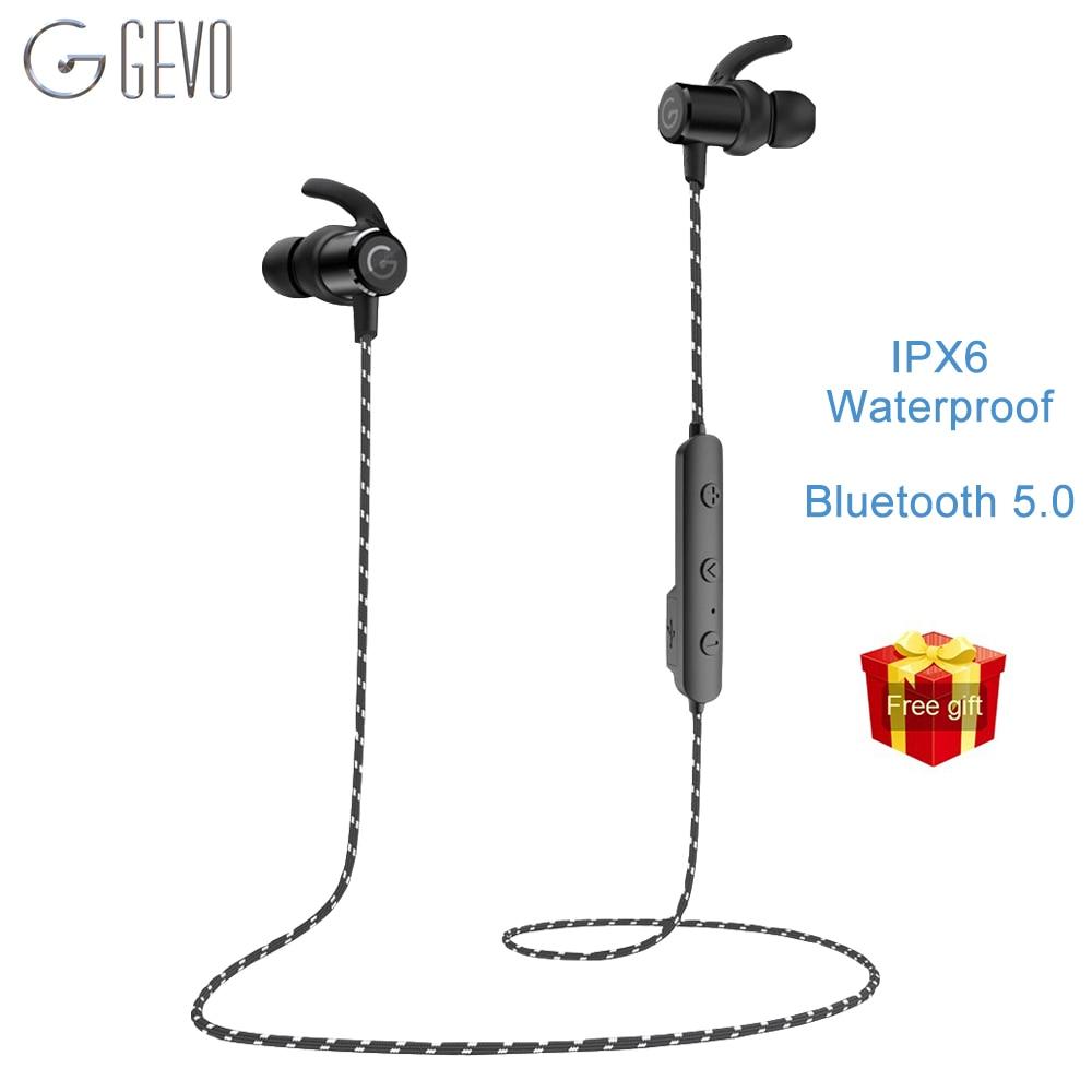 GEVO GV-18BT اللاسلكية سماعة بلوتوث الرياضة سماعات الأذن مع ميكروفون المغناطيسي IPX6 للماء سماعة للهاتف