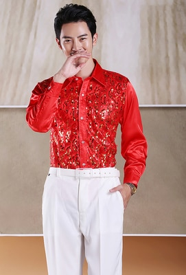 mooer reverie chorus twin series two channel stereo 5 modes digital chorus pedal with true bypass Men's glittering sequined  shirt stage performance clothing dance gala hosted chorus Shirts Chorus performance uniform shirt