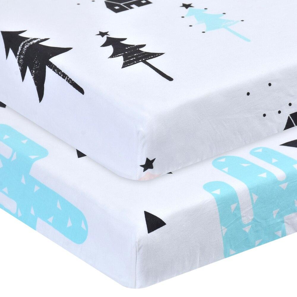 100% algodão berço cabido folha macia do bebê cama colchão capa protetor dos desenhos animados recém-nascidos cama para berço tamanho 130*70cm