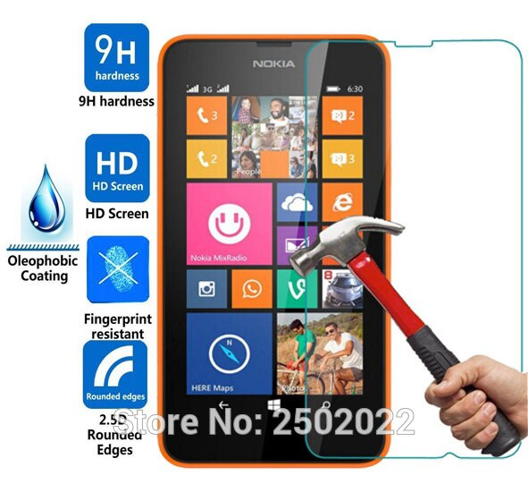 For Lumia 630 635 Tempered Glass Film For Nokia Lumia 630 635 N635 N630 Screen Protector 2.5D Rounded Edge 9H Guard