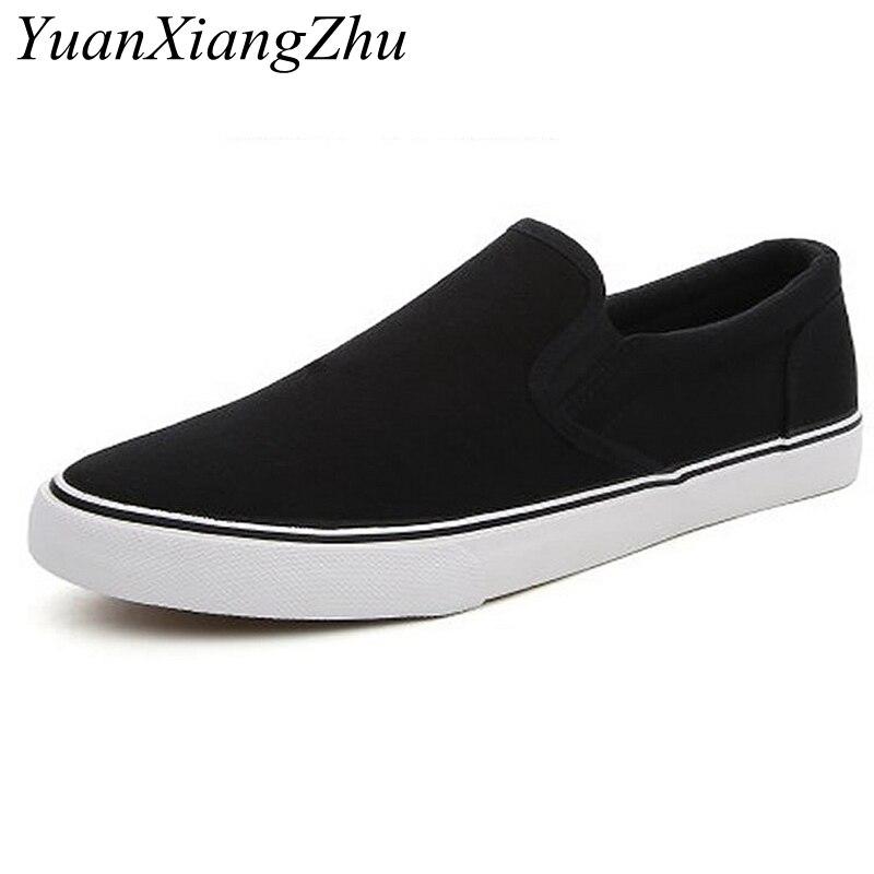 Купить с кэшбэком Black White Solid Men Casual Shoes Simple Canvas Mens Loafers 2019 High Quality Anti-Slip Comfortable Vulcanized Shoes Man Flats