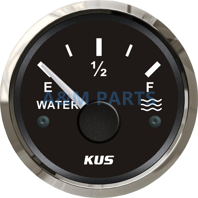 Indicador de nivel de Agua Marina KUS, indicador de nivel de tanque de agua, indicador de nivel vacío rojo completo/amarillo LED 12/24V 52mm 240-33 ohmios