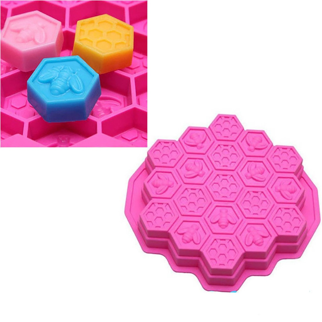 19 células de silicona abeja panal pastel Chocolate jabón vela hornear molde jabón glaseado DIY molde Beeswax Cake Bakeware herramientas