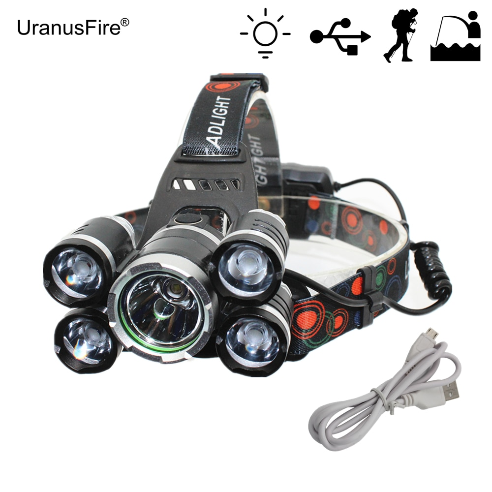 5 LED Headlight 1x T6 + 4x XPE LED USB Rechargeable Headlamp Flashlight for Outdoor Hunting Fishing Bike Light with USB Cable