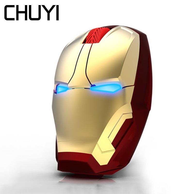 Chuyi sem fio mouse avengers 3 homem de ferro design mause ergonômico 2.4g 2400 dpi computador pc ratos com resto pulso mouse pad kit