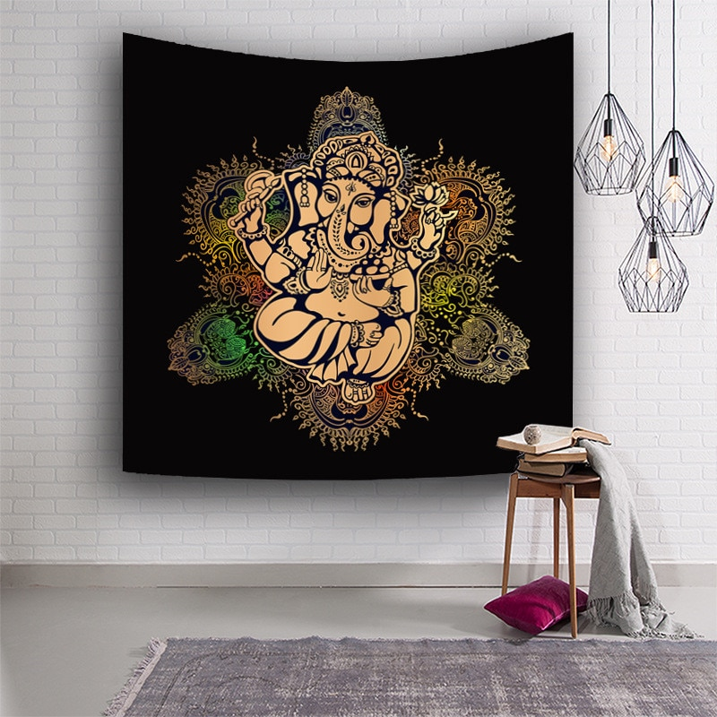 Traditional India Idol Shiva Siva Ganesha God Buddha 3D Printing Tapestry Wall Hanging Decor Hippie Yoga Mat Beach Throw