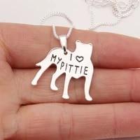 pitbull necklace pendant pit bull heart pendant dog memorial pet necklaces pendant women animal charm christmas gift