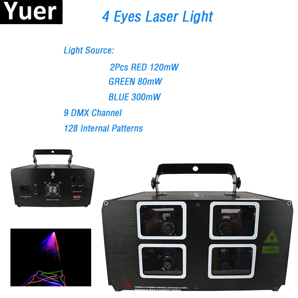Yuer Free Shipping 4 Eyes Laser Lights 580mW RGB 3 Colors 9 DMX Channel Laser Projector 128 Kinds of Patterns For Disco Bars