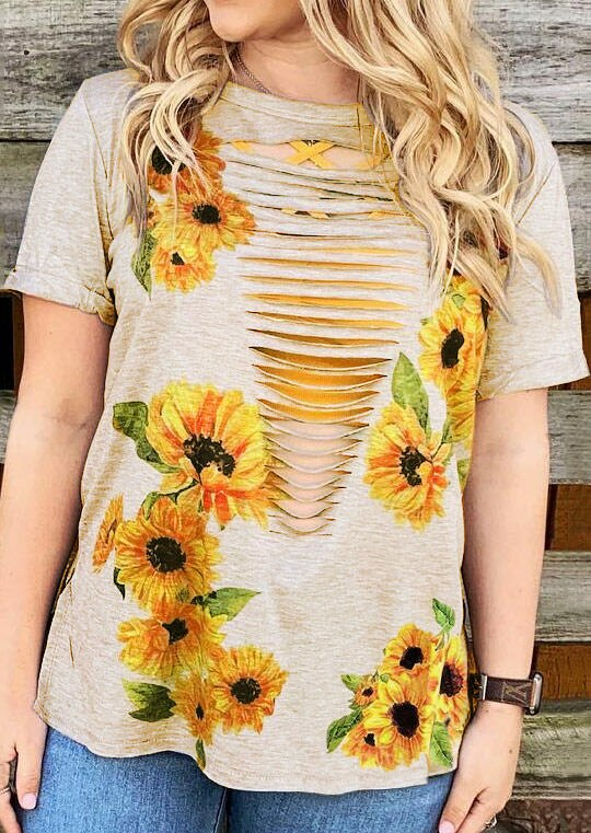 Camiseta ahuecada de girasol para mujer, camiseta Harajuku Ulzzang de talla grande Vintage para chica, Camiseta holgada de béisbol 2019