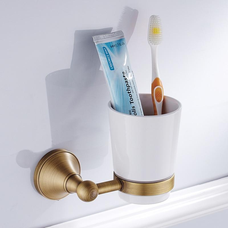 Soporte de taza colgante de bronce de cobre para baño imitación pátina F6818
