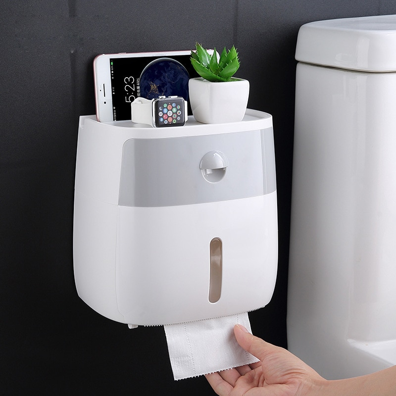 Toilet Paper Holder Wall Mounted Paper Tissue Dispenser Multi-function Plastic Bath Toilet Paper Holder Storage Box Toilet