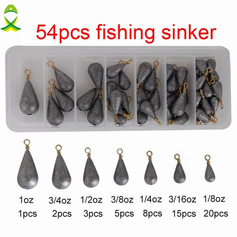 54 Uds plomo pesca Sinker con anillo carpa pesca agua en forma de gota pesos Bass Casting Sinkers Set con caja
