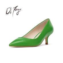 DRFARGO Dress Shoes Women Spring Summer Mid Thin Heel Pointed Toe Fashion Shallow Vamp Black Green Blue Slip on Shoes 34-41 ra02