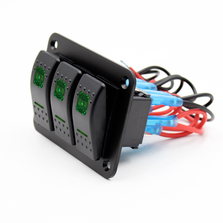 12V-24V 3 Gang Toggle Rocker Switch Panel Green LED Light IP66 waterproof On Off Car Marine Boat switch panel CE certification