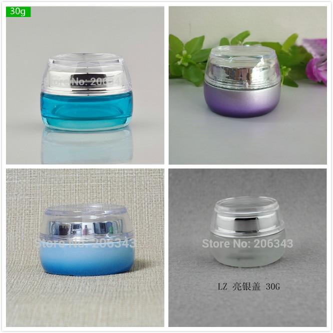30G gradiet azul/morado/botella de vidrio esmerilado/tarro para crema/suero/esencia/hidratante/gel/cuidado de la piel embalaje de cosméticos
