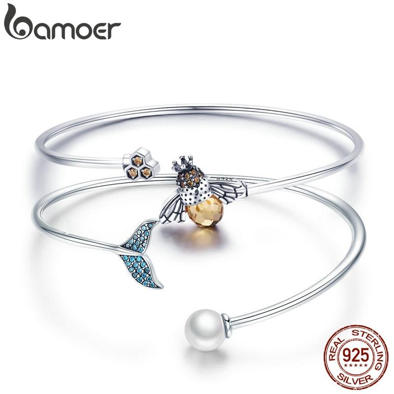 Brazalete de sirena de perla bamoer, brazalete y pulsera de cola de pez azul de Plata de Ley 925 para mujeres, elegante joyería fina, regalos para niñas