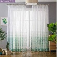 Rideau tulle blanc dégradé pour fenêtre   Rideau à voile solide pour chambre à coucher, cortina personnalisée hauteur 290cm