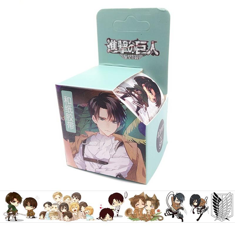 4cm*5m Attack On Titan Anime Washi Tape Adhesive Tape DIY Book Sticker Label Masking Tape