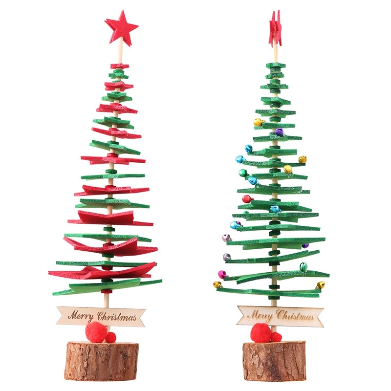 DIY decoración De árbol De Navidad De madera para el hogar adorno...