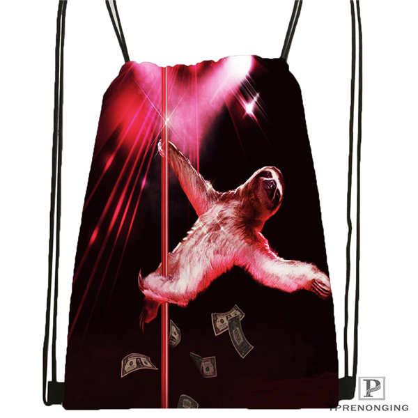 Funda personalizada-perezoso-oso-Stripper-mochila con cordón, mochila bonita mochila para niños (negra) 31x40cm #180611-01-14